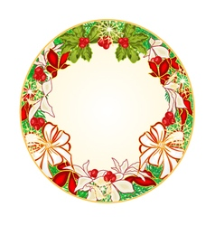 Button circular Christmas Spruce with white bows vector image vector image