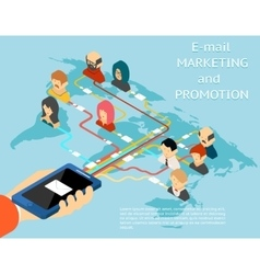 Email marketing and promotion mobile app isometric vector image vector image