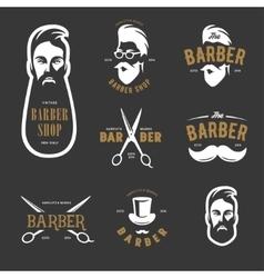 Set of vintage barber shop emblems label vector image vector image