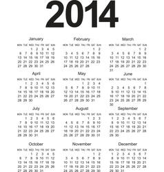 Simple 2014 Calendar vector image