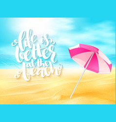 Summer travel banner with sun umbrella and vector