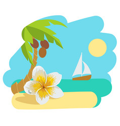 tropical island with palm tree and flower vector image