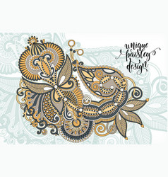 unique flower paisley design hand drawing floral vector image