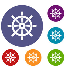 wooden ship wheel icons set vector image vector image