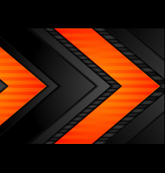 Abstract black orange arrows tech background vector