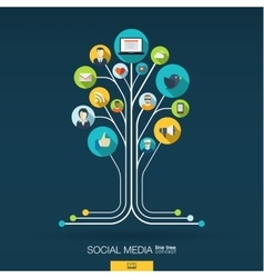 Abstract social media background Growth tree vector