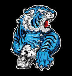 animals angry tiger blue skull on black vector image