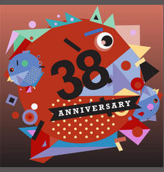 Anniversary greeting card with colorful number vector