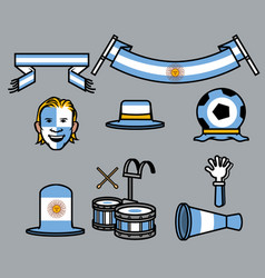 Argentina soccer supporter gear set vector