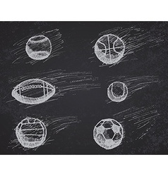 Ball sketch set with shadow and dynamic effect on vector image