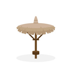 Beach straw umbrella in flat style straw sunshade vector