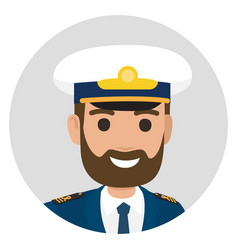bearded captain in uniform portrait vector image