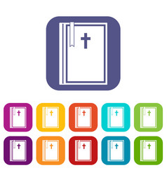bible icons set flat vector image