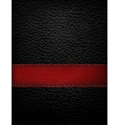 Black leather background with red leather strip vector image