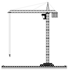 black outline of a high tower crane for an vector image