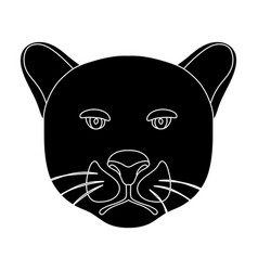 Black panther icon in black style isolated on vector