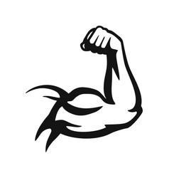 bodybuilder hand emblem in black on white vector image