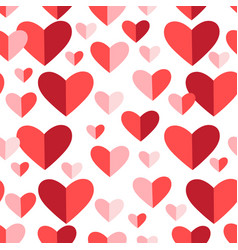 bright festive pattern red hearts vector image