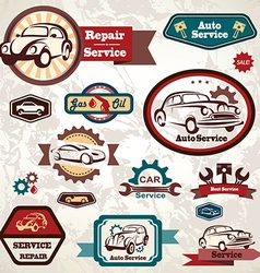 Car service retro emblem collection of vintage lab vector