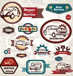 car service retro emblem collection vintage lab vector image