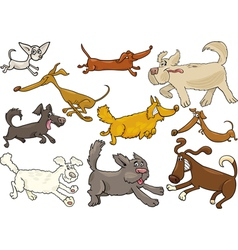 cartoon playful running dogs set vector image