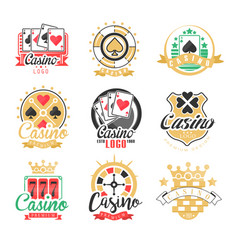 Casino logo design set of colorful gambling vector