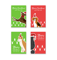 Christmas and new year dog greeting card set vector