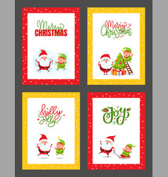christmas greeting cards with santa claus and elf vector image