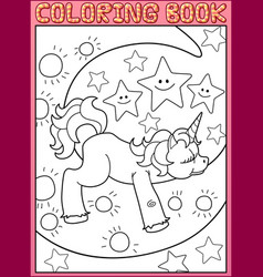 coloring book page cute little unicorn on moon vector image