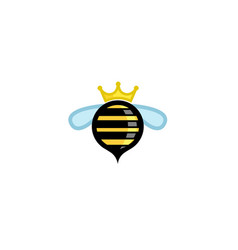 cute circle bee crown logo vector image