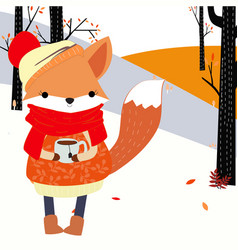 cute fox girl in forest scene cartoon vector image