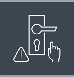 Do not touch door handle thin line icon vector