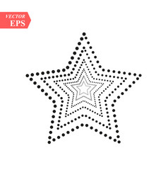 dotted five pointed star icon isolated on white vector image