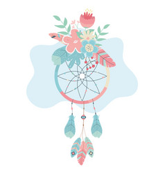Dream catcher hanging with flowers boho style vector