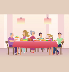 Family dinner christmas or thanksgiving day vector