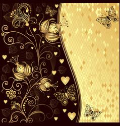festive floral valentine frame with golden branch vector image