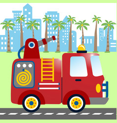 fire engine cartoon on buildings background vector image