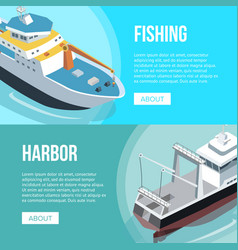 Fishing and harbor banners vector
