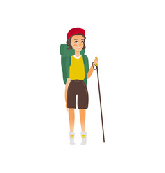 Flat girl hiker with backpack trekking pole vector
