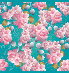 floral 3d roses seamless pattern blue vector image