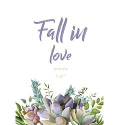 Floral card design succulent flower plant vector