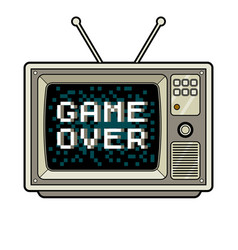 game over on tv pop art vector image