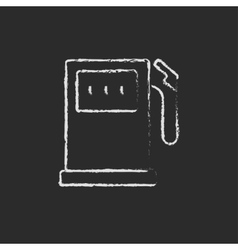 Gas station icon drawn in chalk vector