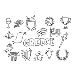 Greece Landmarks and cultural features vector image vector image
