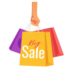 hand holding paper sale bags vector image