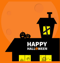 Happy halloween haunted house roof attic loft vector