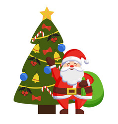 happy santa standing bag near decorated xmas tree vector image
