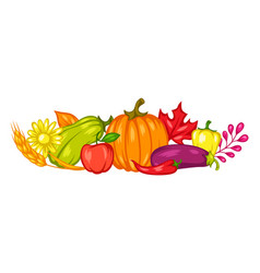 harvest decorative element with fruits and vector image
