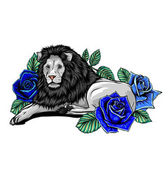 head a lion in a flower ornament vector image