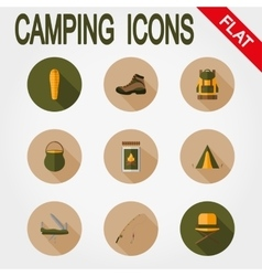 Hiking icons Camping vector image